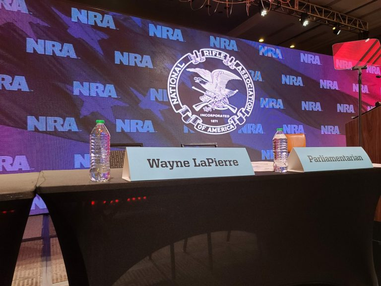 A placard for CEO Wayne LaPierre at the 2021 NRA Members' Meeting in Charlotte, North Carolina