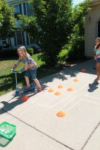 Obstacle course (on the driveway slop for added difficulty)