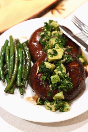 Portobello Steaks with Avocado Chimichurri