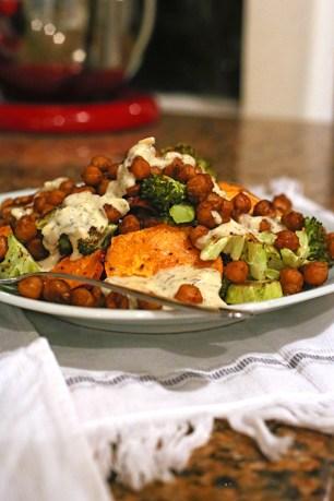 Roasted Broccoli, Sweet Potato, & Chickpea Salad