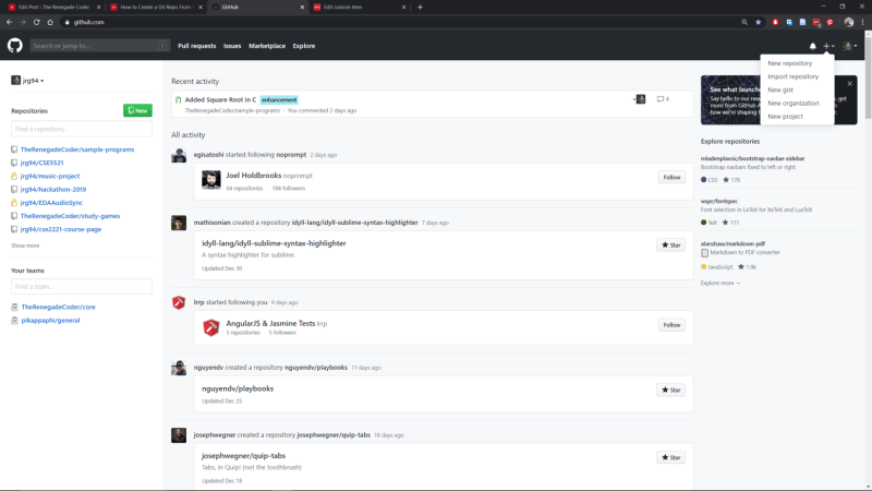 GitHub Website Homepage Add New Repository
