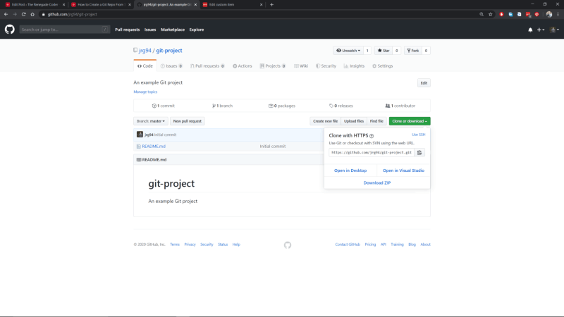 GitHub Website New Project Clone Button