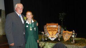 Laerskool Hangklip head Jannie Pretorius congratulates Dux pupil of 2016, Jean-Mari Castles