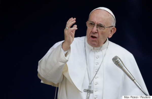 Pope Francis gestures as he talks during a meeting at the University Roma Tre in Rome