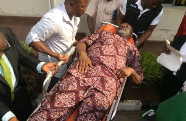 Dino-Melaye-on-stretcher