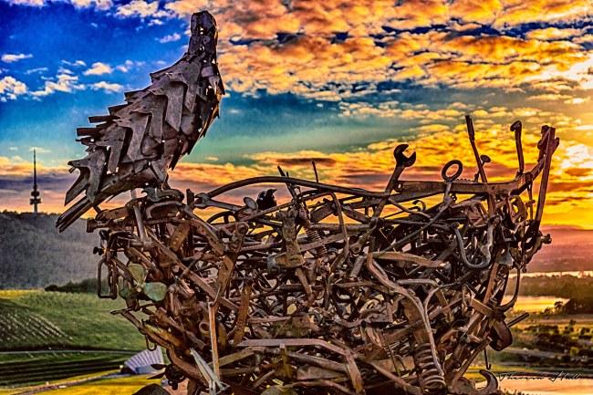 Eagle nest sculpture at sunrise at the Arboretrum, Canberra, Australia.