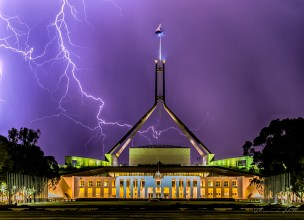 Lightning striking Parliament House, Canberra, Australia.