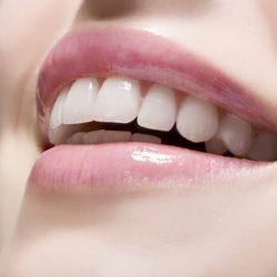 Woman wearing lip gloss