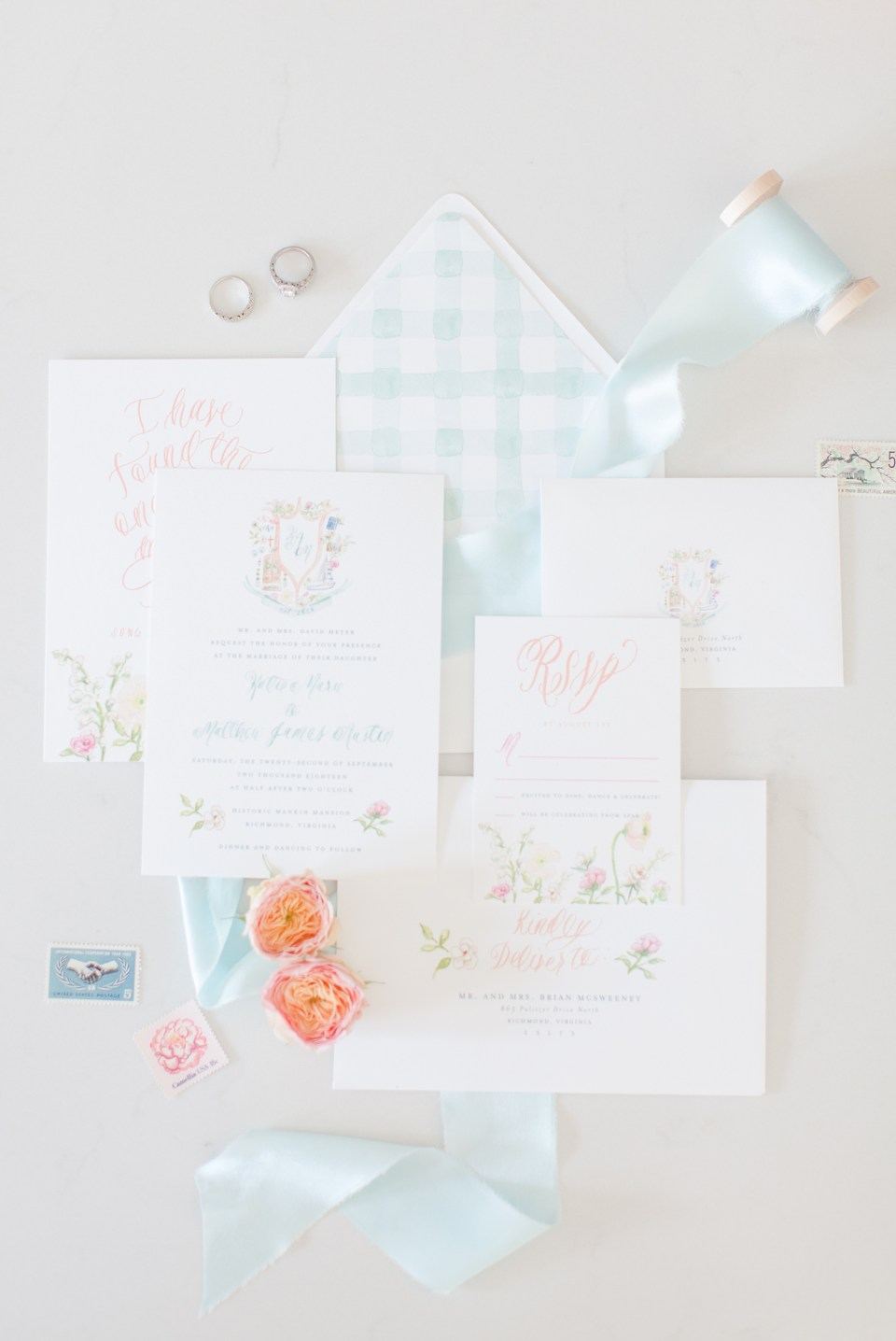 watercolor custom wedding invitation suite photo simply jessica marie