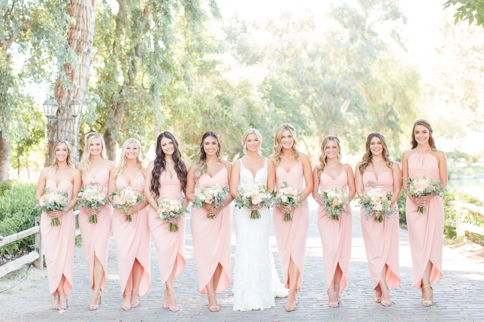 Blush bridesmaid dress Lake Oaks Meadow Wedding Photo