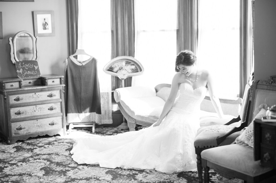 Bride on a vintage couch