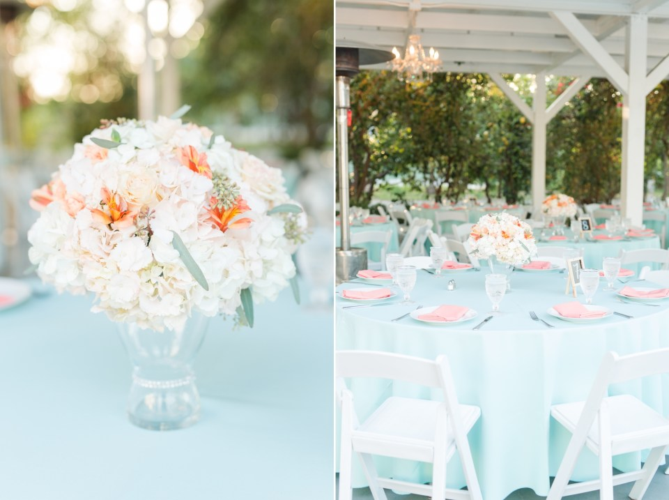 blush and mint wedding reception decor