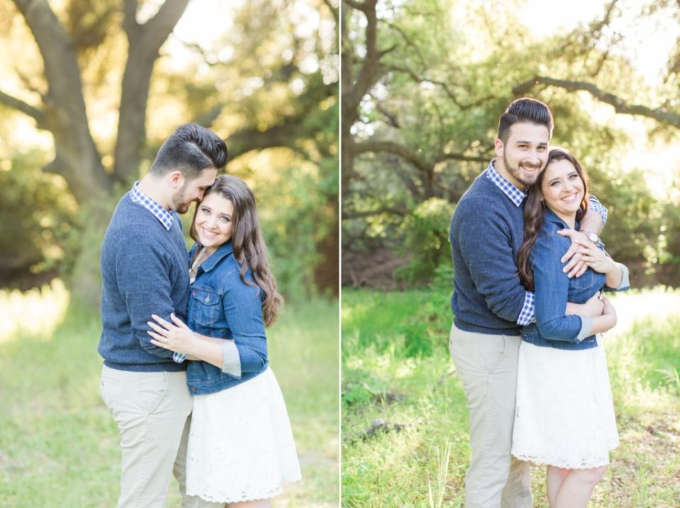 Engagement photos with a white dress