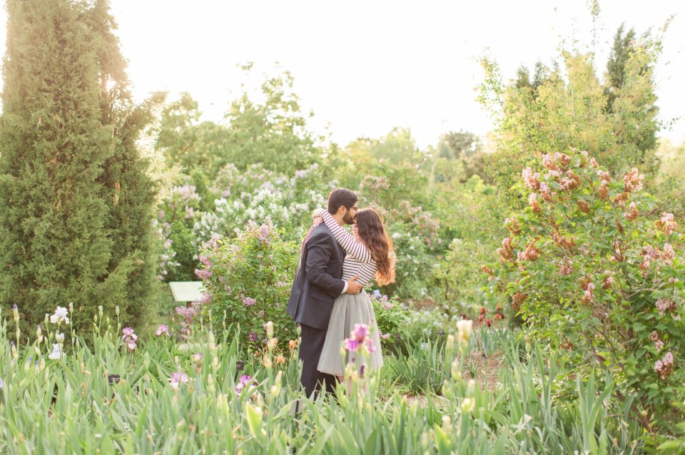 Spring engagement session at the Denver Botanical Gardens by Colorado wedding photographer Theresa Bridget Photography.