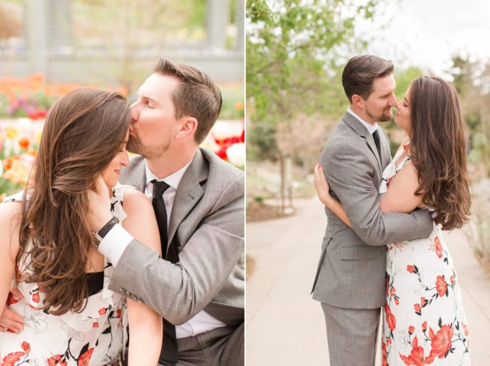 Spring engagement session at Denver Botanical Garden photographed by Colorado Wedding Photographer