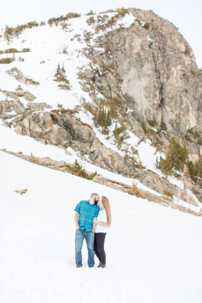 Colorado mountain engagement session with snow.