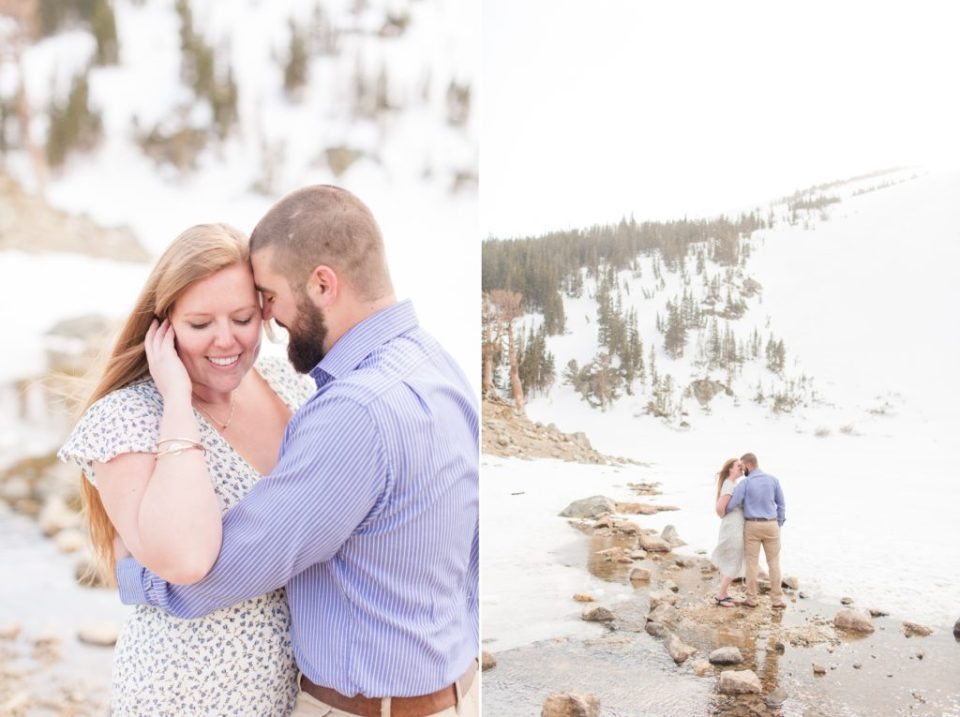 St. Mary's Glacier hike in Colorado. Moderate Colorado hikes for engagement session.