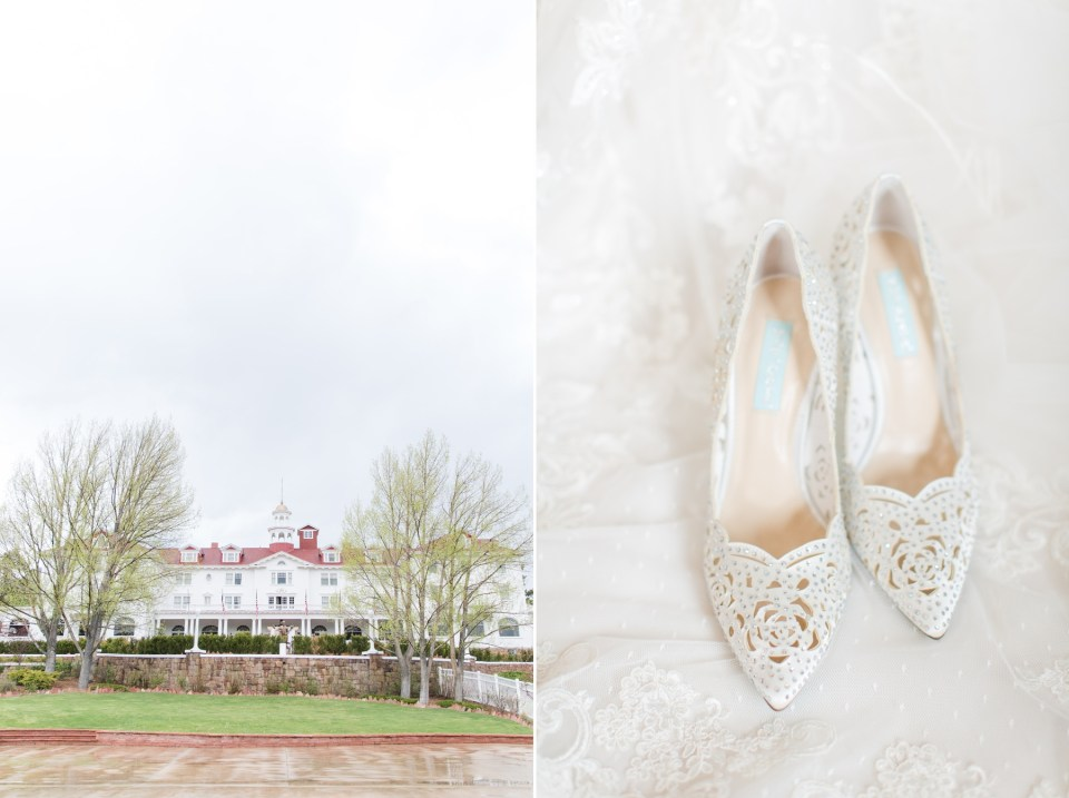 Bettsy Johnson White wedding shoes for a bride. Colorado wedding photographer Theresa Bridget Photography