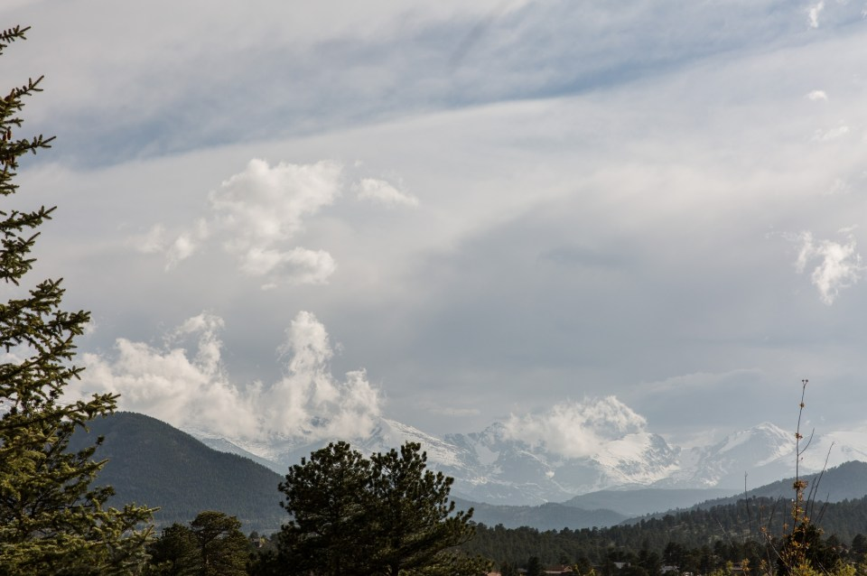 A view of Longs Peak from the Stanley Hotel in Estes Park Colorado.