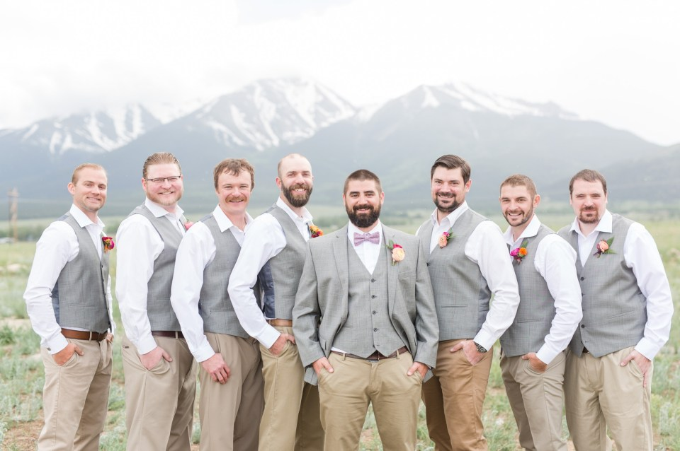 Groomsmen in a casual look for a Colorado mountain wedding.