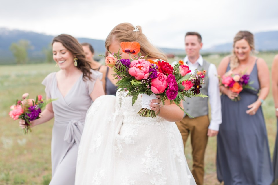 Bold and colorful whimsical bridal bouquet for a spring colorado wedding.