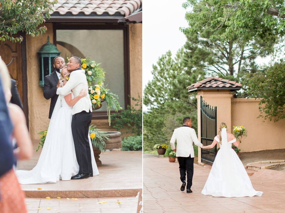 Villa Parker wedding in pale yellow and creams. Parker Colorado wedding ceremony.