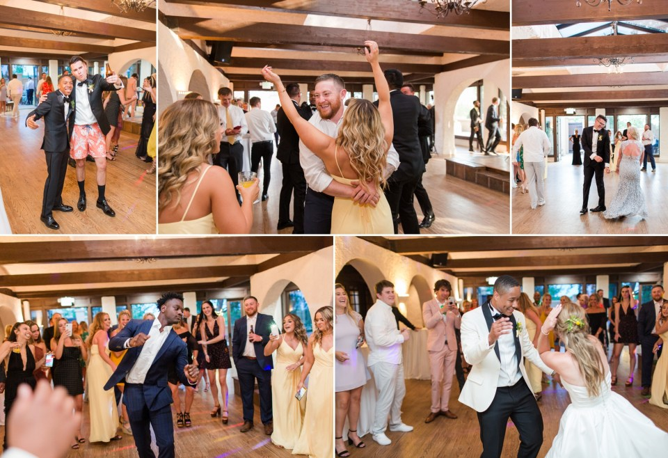 Wedding guest dancing during the reception of a summer wedding at Villa Parker in Parker Colorado.