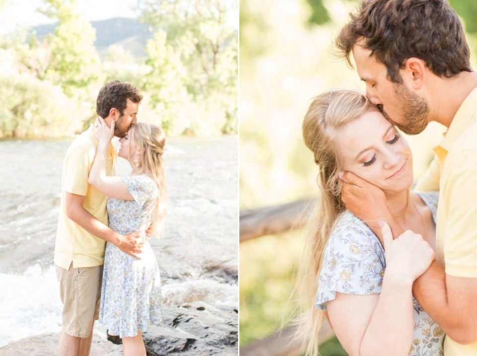 Couple at Golden History park in Golden Colorado for an engagement sesison.