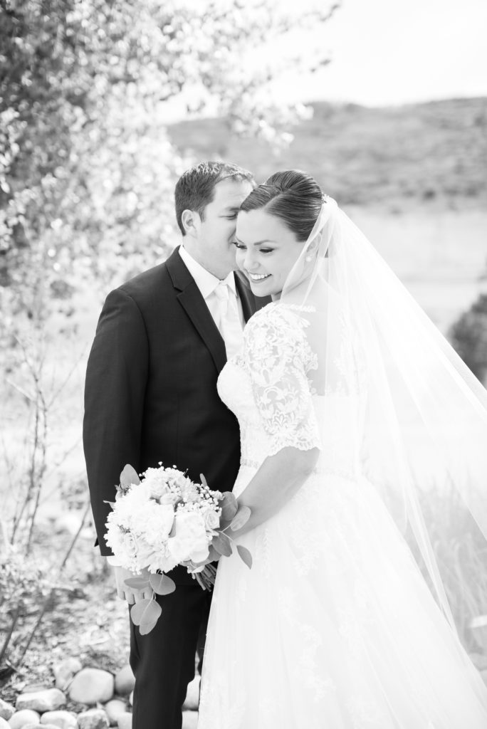 Classic black and white portrait of a bride and groom by Colorado Wedding Photographer Theresa Bridget Photography.