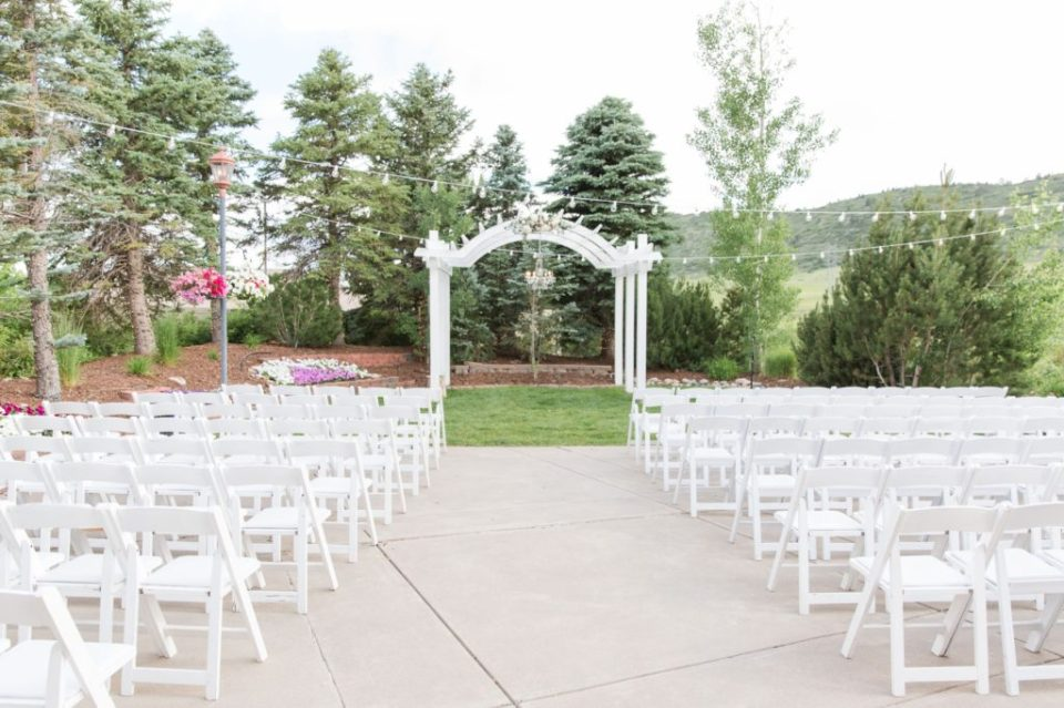 Ceremony set up for a spring wedding at Wedgewood Ken Caryl in Littleton Colorado.