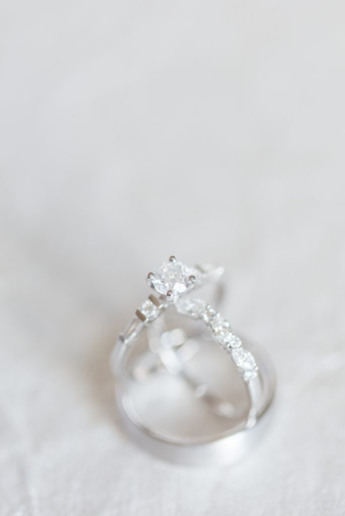 Wedding ring shot with a clean white background, wedding details.