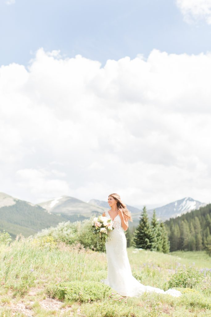 Bride ontop of the Rocky Mountains in Colorado.