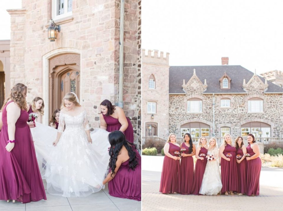 Bridesmaids in wine colored floor length bridesmaid dresses outside of Highlands Ranch Mansion in Colorado.