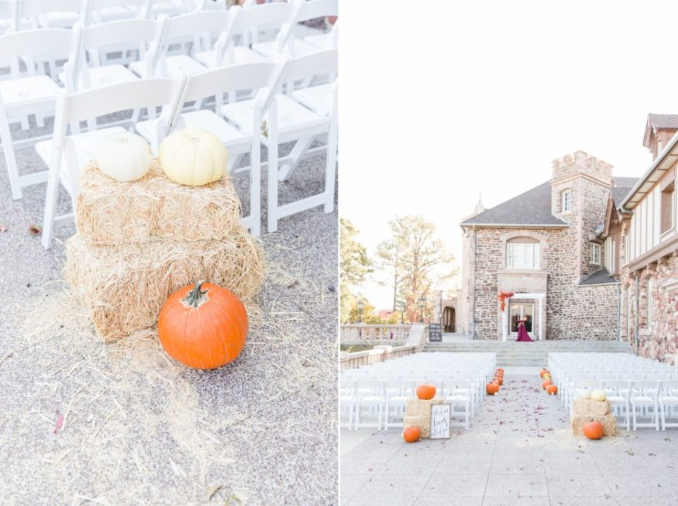 Fall themed wedding with hay and pumpkins at the Highlands Ranch Mansion in Colorado.