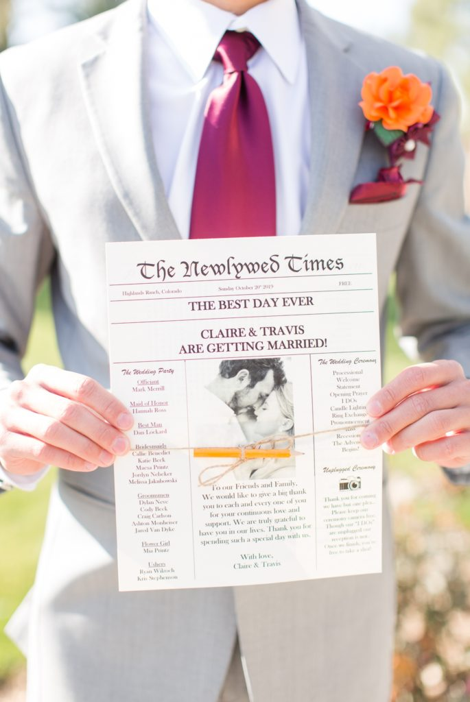 Custom wedding programs that look like newspapers.