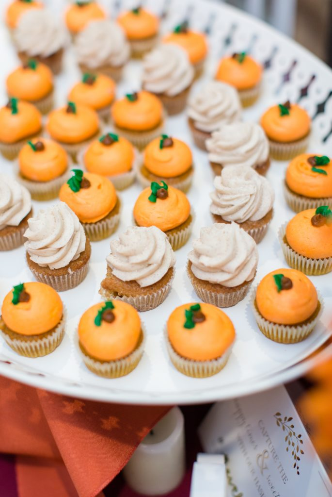 Mini pumpkin cupcakes in stead of traditional wedding cake.