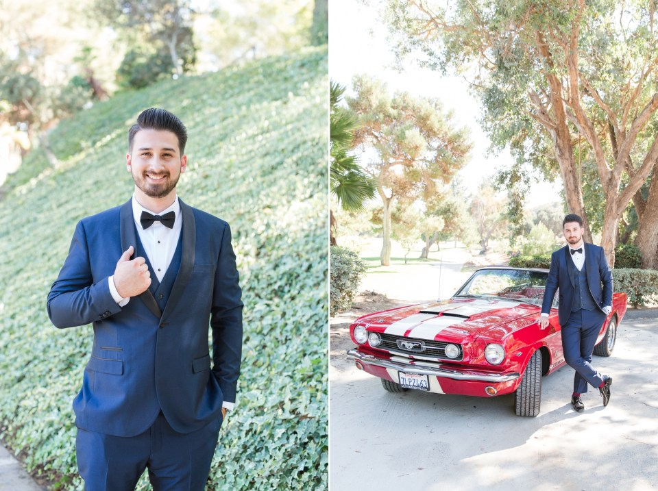 Groom posing with 1966 red mustang on wedding day.