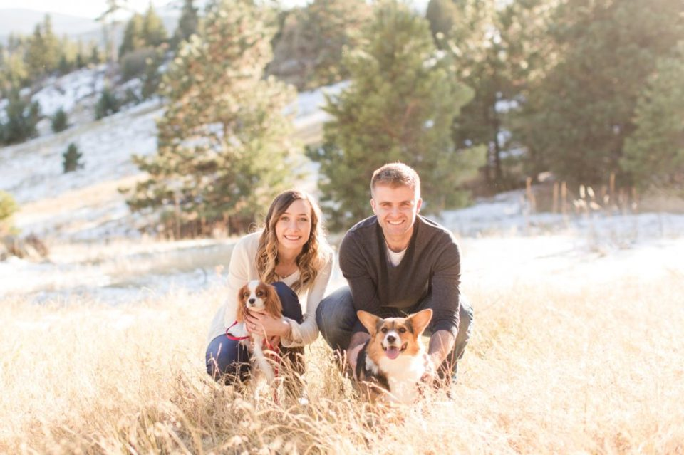 Engagement session with a corgi in Colorado.