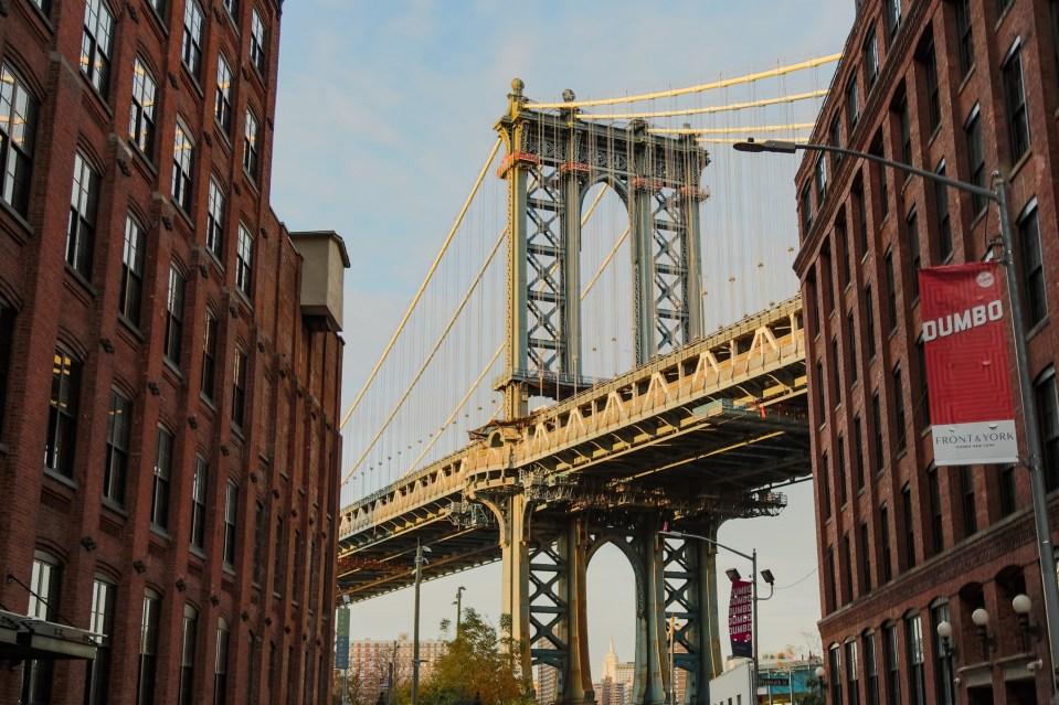 Washington and Water photo spot in DUMBO. Manhattan bridge from Brooklyn.