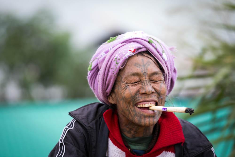 Smoking Chin Woman