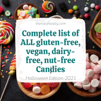 A complete list of ALL Gluten-free,Vegan, Nut-free, Dairy-free Halloween Candy 2021 {Updated List}