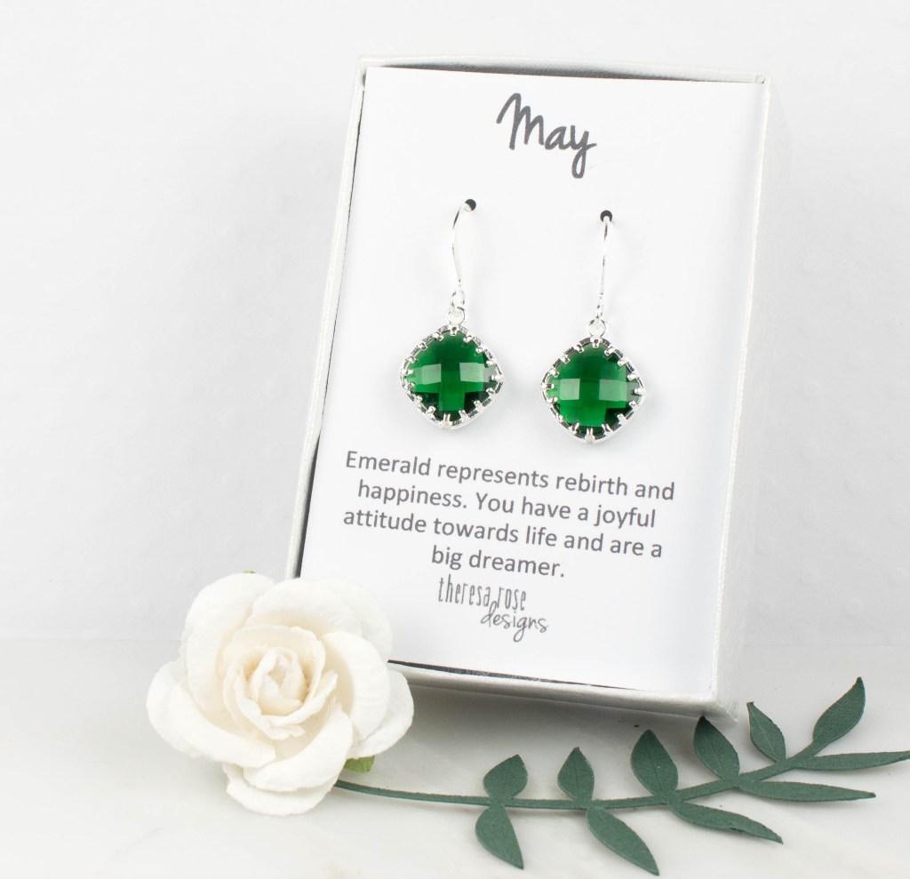May Birthstone Silver Earrings