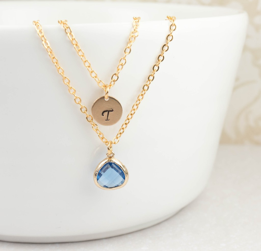 Personalized September Birthstone Gold Necklace