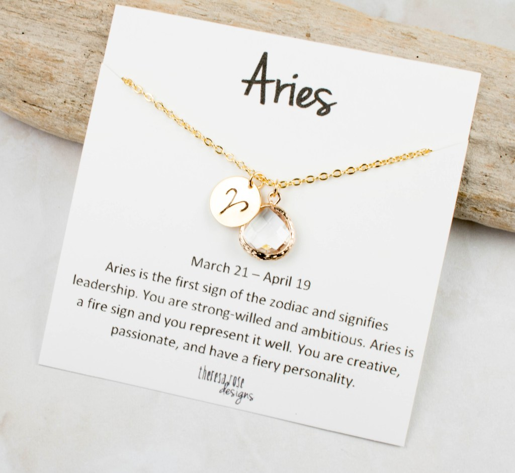Zodiac Aries April Birthstone Gold Necklace