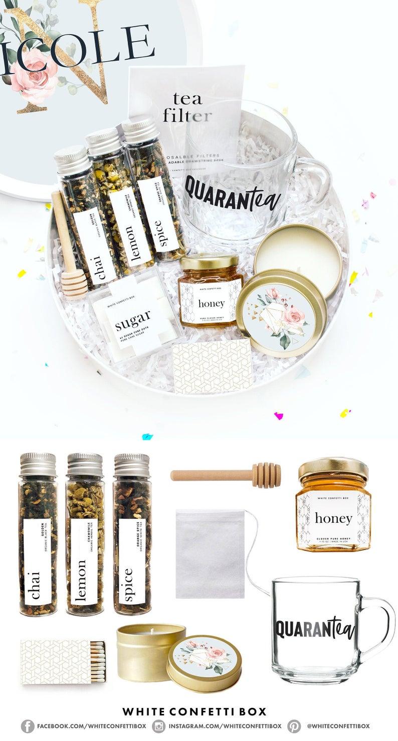 White Confetti Box Quarantine Tea Gift Box