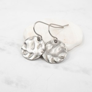 hammered antique silver earrings