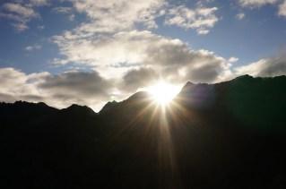 Die ersten Sonnenstrahlen.