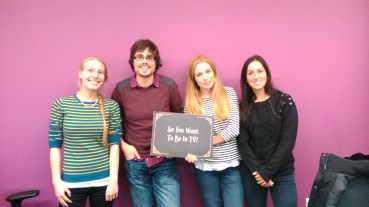(Some of) the production team! From left to right: Laura (Assistant Producer), Joe (Series Producer), Charlotte (Researcher) and Lucy (Project Manager).