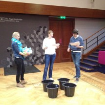 Rehearsing some bucket-based demos in the Faraday Theatre.
