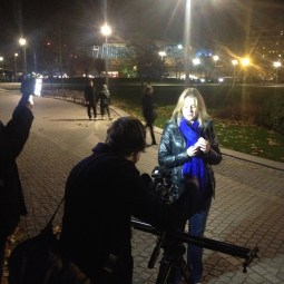 Filming the opening sequence of the first Lecture outside the Shell Centre on the South Bank.